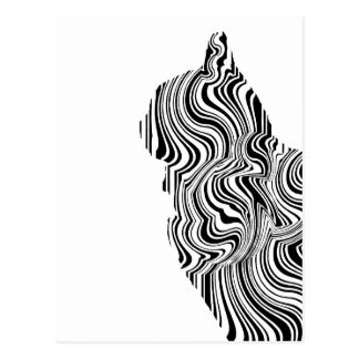 Black and White Cat Swirl Lines Feline monochrome Postcard