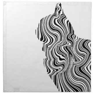 Black and White Cat Swirl Lines Feline monochrome Printed Napkin