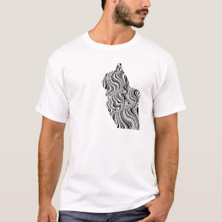 Black and White Cat Swirl Lines Feline monochrome T-Shirt