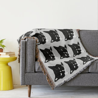 Black and White Cat Throw Blanket