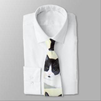 Black and White Cat Tie