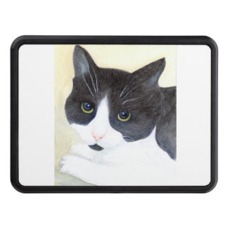 Black and White Cat Trailer Hitch Cover