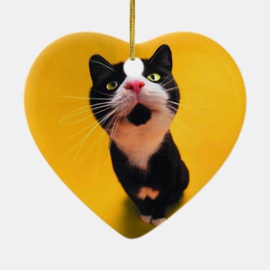 Black and white cat-tuxedo cat-pet kitten-pet cat ceramic heart ornament