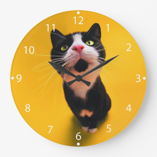 Black and white cat-tuxedo cat-pet kitten-pet cat clocks