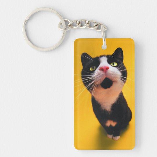 Black and white cat-tuxedo cat-pet kitten-pet cat Double-Sided rectangular acrylic keychain