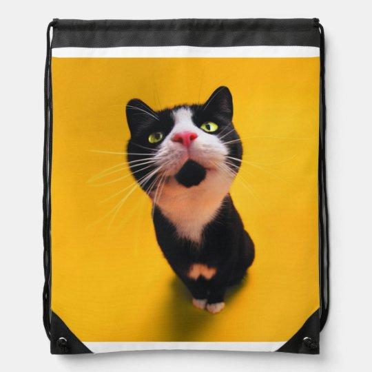 Black and white cat-tuxedo cat-pet kitten-pet cat drawstring backpacks