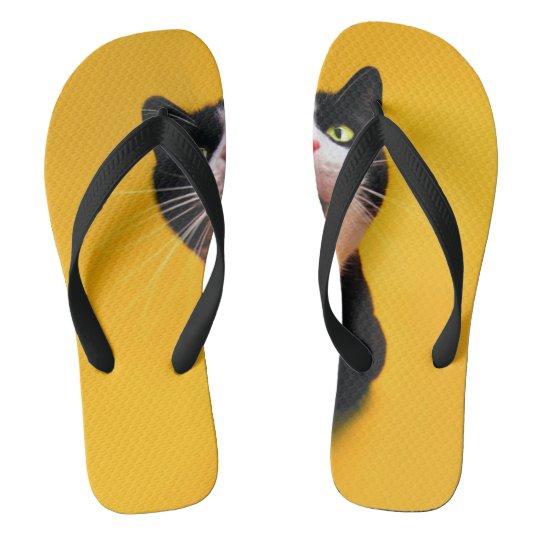 Black and white cat-tuxedo cat-pet kitten-pet cat flip flops