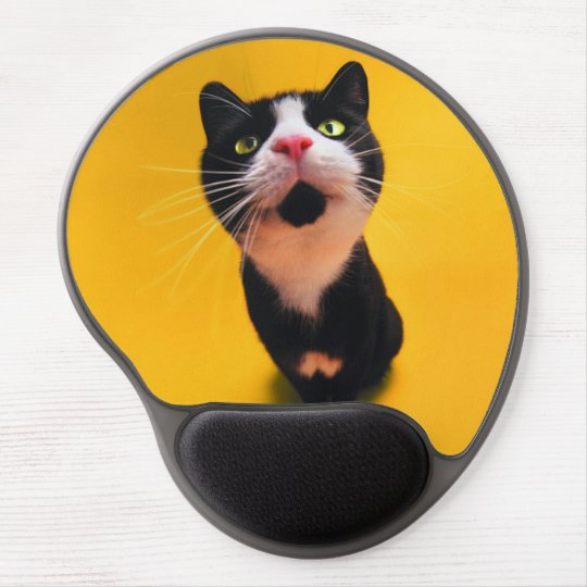 Black and white cat-tuxedo cat-pet kitten-pet cat gel mouse pad
