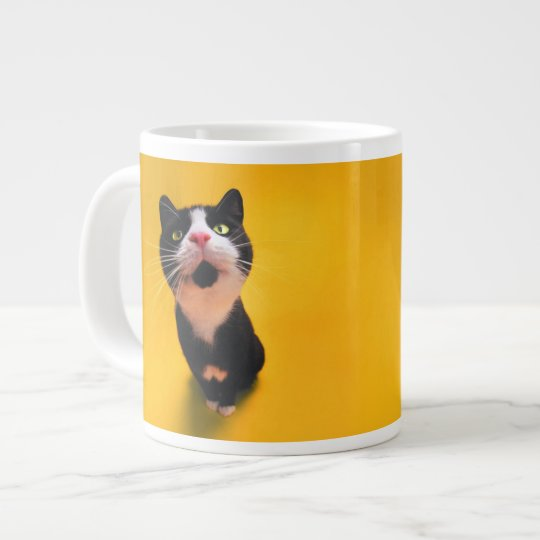 Black and white cat-tuxedo cat-pet kitten-pet cat giant coffee mug