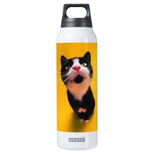 Black and white cat-tuxedo cat-pet kitten-pet cat insulated water bottle