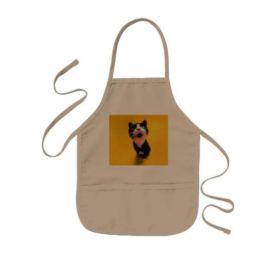 Black and white cat-tuxedo cat-pet kitten-pet cat kids apron