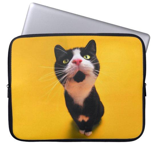 Black and white cat-tuxedo cat-pet kitten-pet cat laptop sleeve