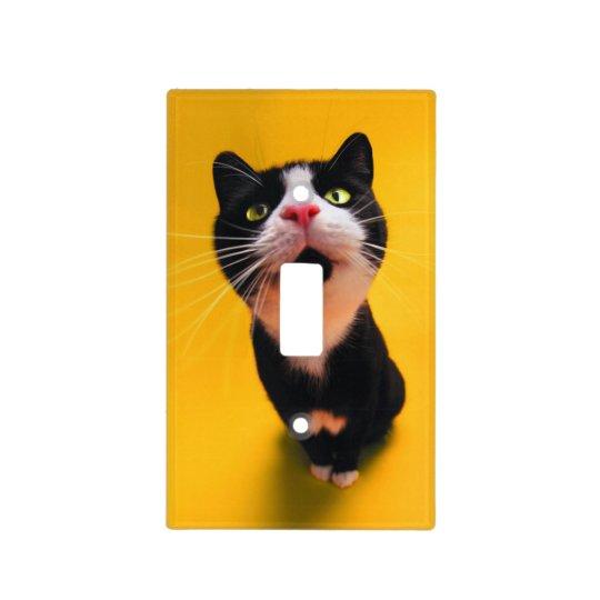 Black and white cat-tuxedo cat-pet kitten-pet cat light switch cover