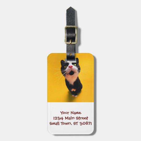 Black and white cat-tuxedo cat-pet kitten-pet cat luggage tag