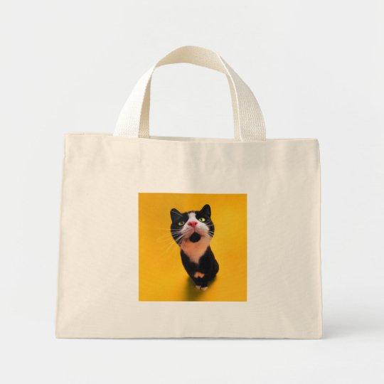 Black and white cat-tuxedo cat-pet kitten-pet cat mini tote bag