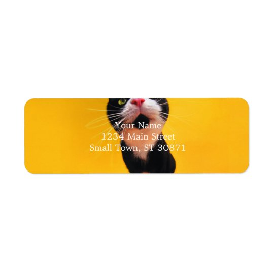 Black and white cat-tuxedo cat-pet kitten-pet cat return address label