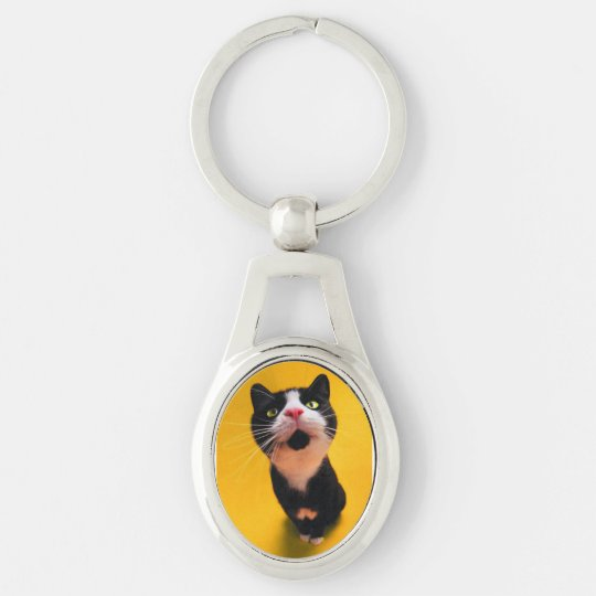 Black and white cat-tuxedo cat-pet kitten-pet cat Silver-Colored oval keychain