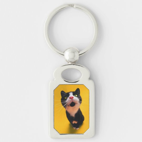 Black and white cat-tuxedo cat-pet kitten-pet cat Silver-Colored rectangle keychain
