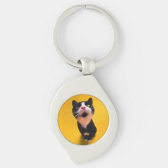 Black and white cat-tuxedo cat-pet kitten-pet cat Silver-Colored swirl keychain