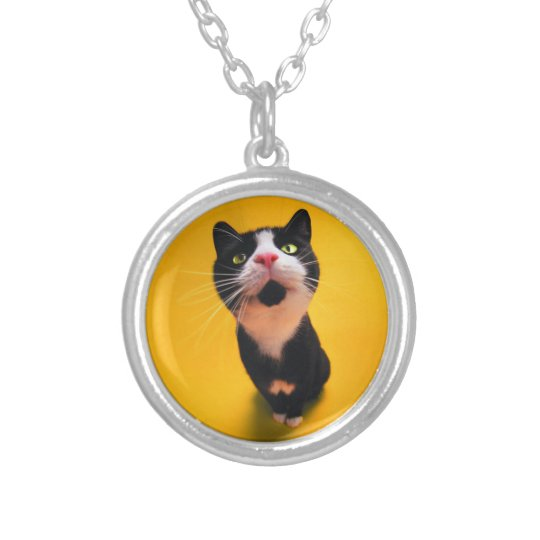 Black and white cat-tuxedo cat-pet kitten-pet cat silver plated necklace