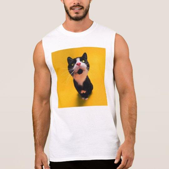 Black and white cat-tuxedo cat-pet kitten-pet cat sleeveless shirt