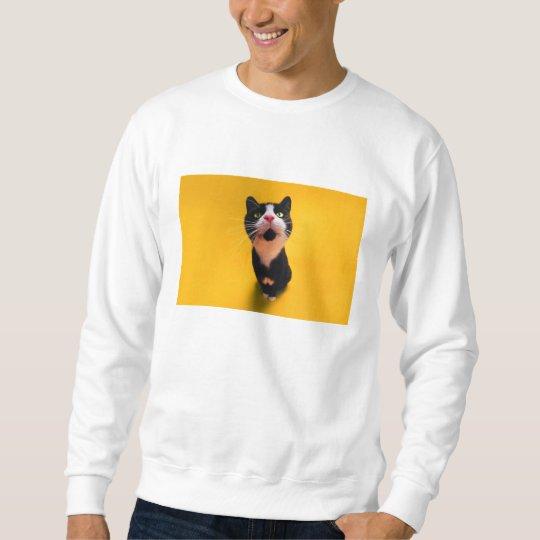 Black and white cat-tuxedo cat-pet kitten-pet cat sweatshirt