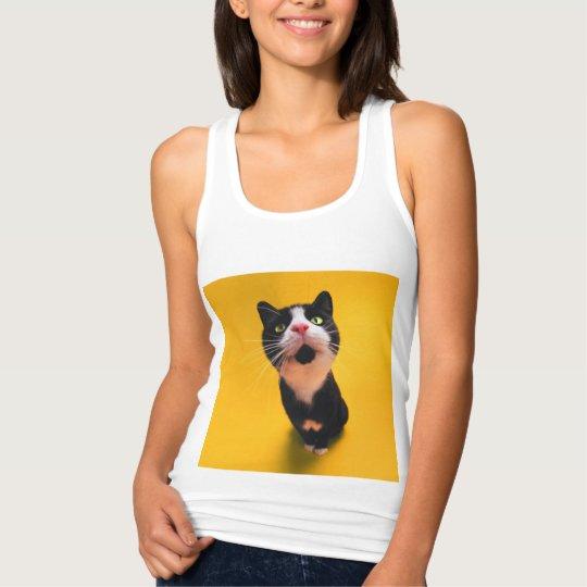 Black and white cat-tuxedo cat-pet kitten-pet cat tank top