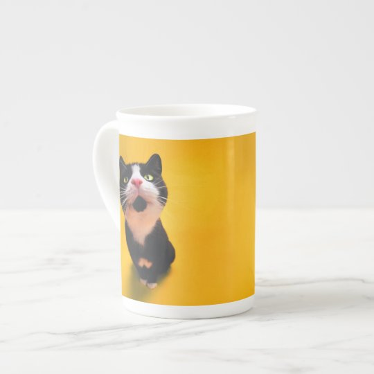 Black and white cat-tuxedo cat-pet kitten-pet cat tea cup