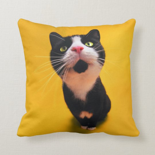 Black and white cat-tuxedo cat-pet kitten-pet cat throw pillow