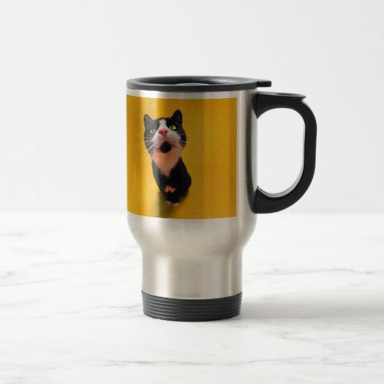 Black and white cat-tuxedo cat-pet kitten-pet cat travel mug