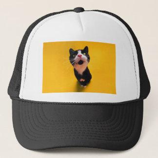 Black and white cat-tuxedo cat-pet kitten-pet cat trucker hat