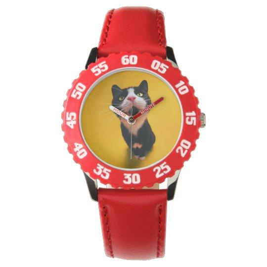 Black and white cat-tuxedo cat-pet kitten-pet cat wrist watch