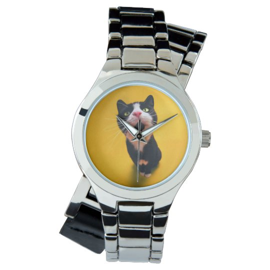 Black and white cat-tuxedo cat-pet kitten-pet cat wrist watch