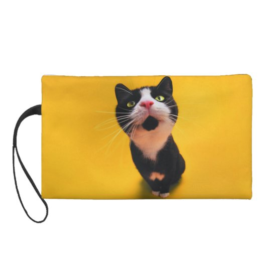 Black and white cat-tuxedo cat-pet kitten-pet cat wristlet