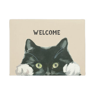black and white cat welcome doormat