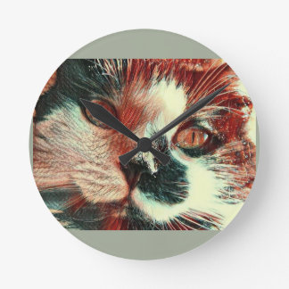 Black And White Cat With Digital Painting Effect Clock