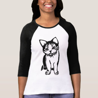 Black and White Cat Women's Raglan T-Shirt