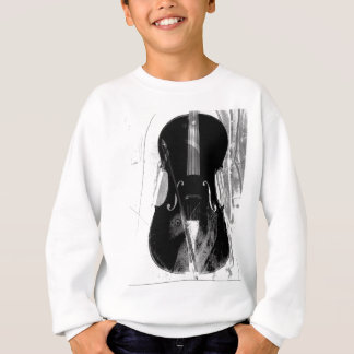 Black and white cello illustration sweatshirt