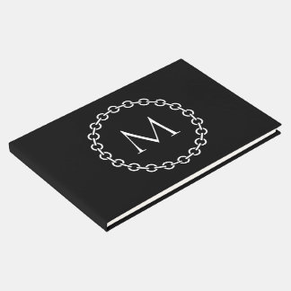 Black and White Chain Link Ring Circle Monogram Guest Book