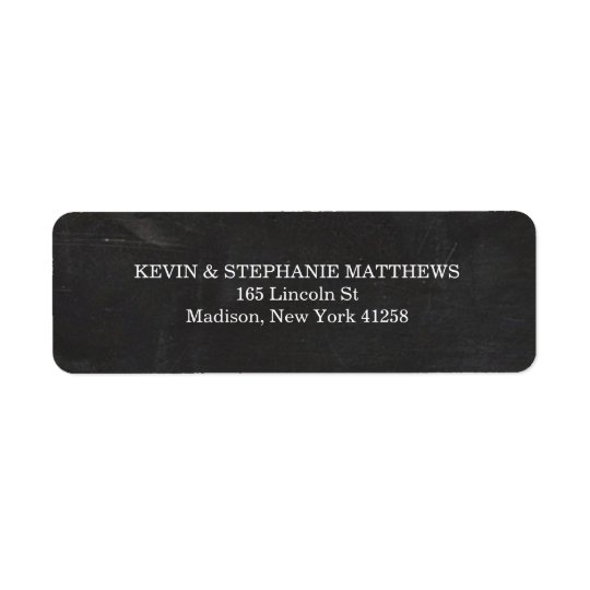 Black and White Chalkboard Return Address Label