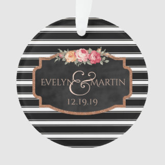 Black and White Chalkboard Wedding Monogrammed Ornament