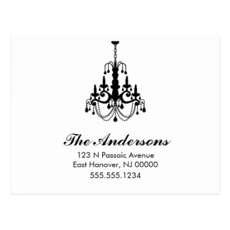 Black and White Chandelier Moving Announcements Postcard