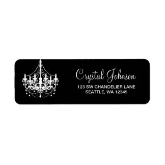 Black and White Chandelier Return Address Label