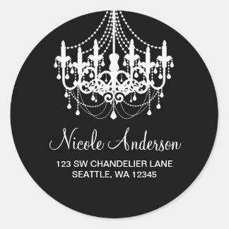 Black and White Chandelier Round Address Label Round Sticker