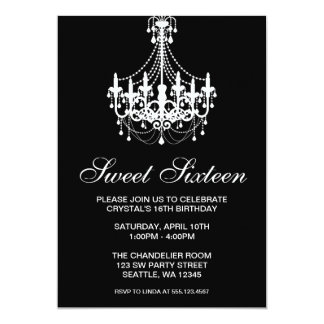 "Black and White Chandelier Sweet Sixteen Birthday 5"" X 7"" Invitation Card"