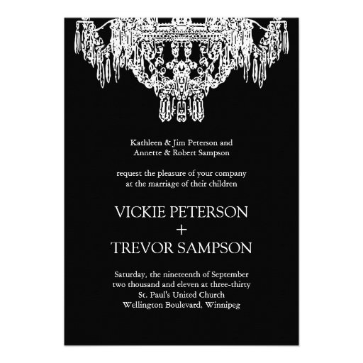 Black and White Chandelier Wedding Invitations