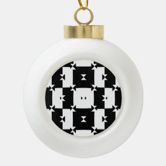Black and White Check Pattern Ceramic Ball Ornament