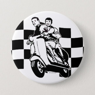 Black and white check scooter riders 3 inch round button