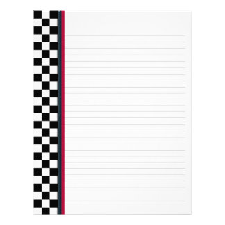 Black and White Check with Red Accent Binder Paper