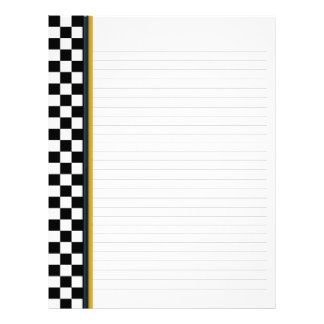 Black and White Check with Yellow Accent Binder Letterhead